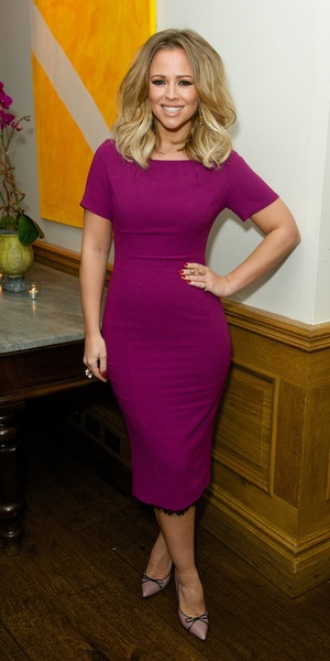 Kimberley Walsh poses in a purple dress by very.co.uk at the Soho Hotel - London, 20th January 2014