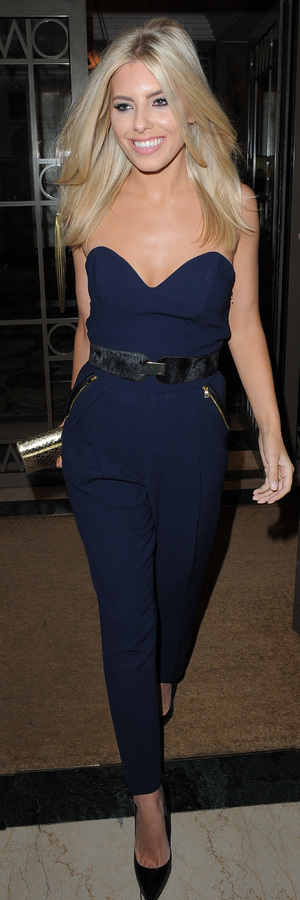 Mollie King wears navy jumpsuit in August 2013