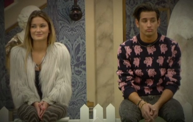 Celebrity Big Brother - aired 23 January 2014. Sam Faiers and Ollie Locke in 'sitting fence' task.