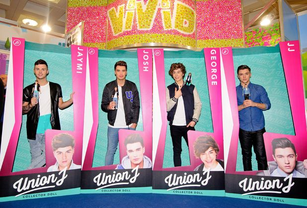 Toy Fair 2014, London, Britain - 21 Jan 2014 Union J - Jaymi Hensley, Josh Cuthbert, George Shelley, JJ Hamblett