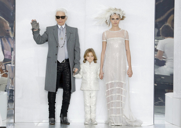 Chanel show, Haute Couture Autumn Winter, Paris Fashion Week, France - 21 Jan 2014 Cara Delevingne, Karl Lagerfeld
