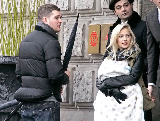 Michael Buble, wife Luisana Lopilato and son Noah in Berlin, Germany. 20 Jan 2014