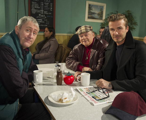 David Beckham kicks off Sport Relief. David Beckham joins Del Boy and Rodney for a special Sport Relief sketch that will be shown as part of a star-studded night of Sport Relief TV on Friday 21st March.