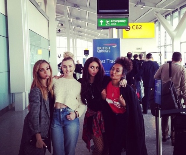 Little Mix arrive at the airport to jet off to Japan (21 January).