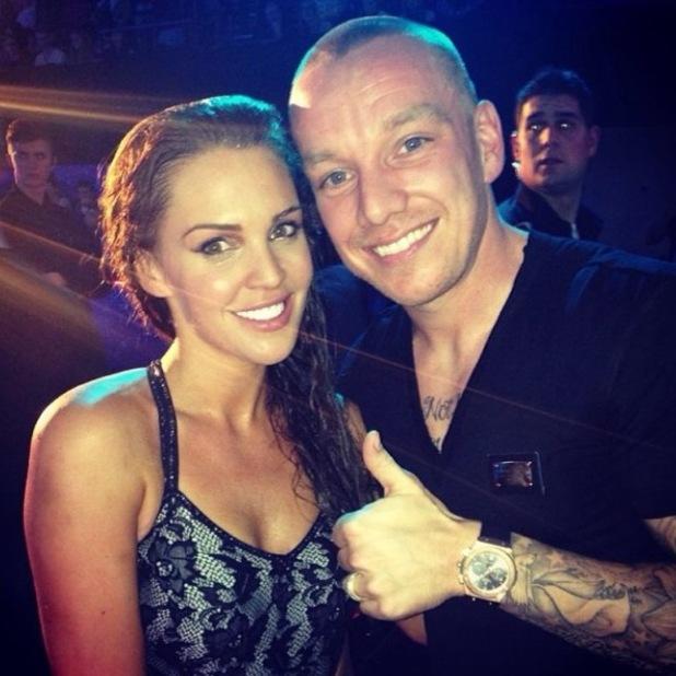 Danielle Lloyd poses with husband Jamie O'Hara backstage on Splash (18 January 2014).