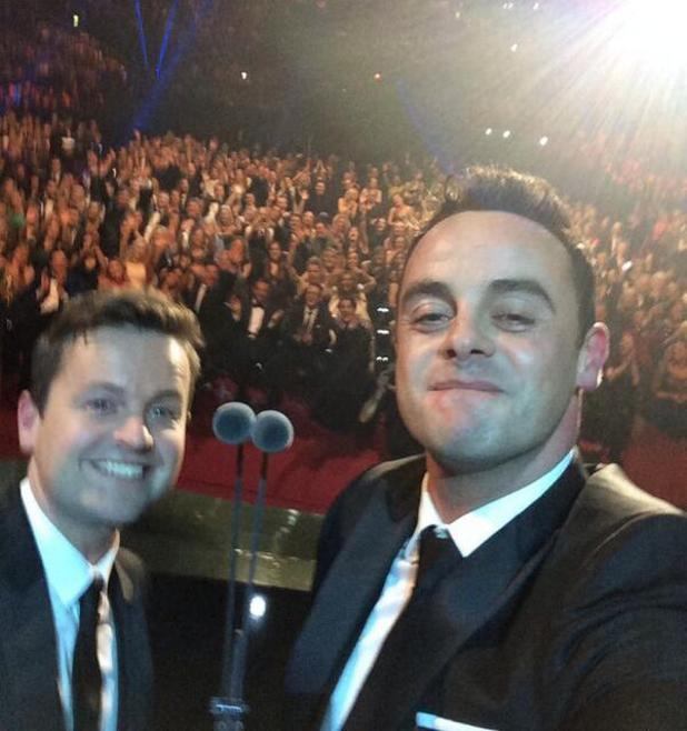 Ant and Dec pose for a selfie after being given the Landmark Award at the National Television Awards - 22 Jan 2014