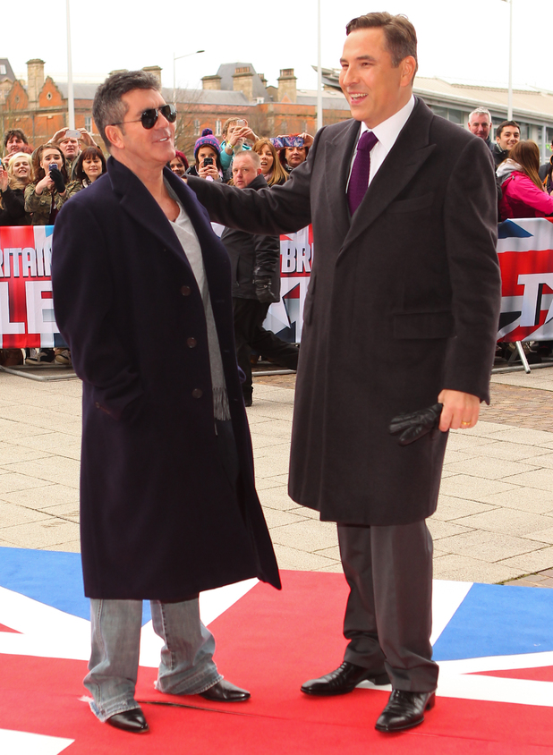 Arrivals for the Cardiff round of auditions for Britain's Got Talent David Walliams,Simon Cowell 01/23/2014 in Cardiff, United Kingdom