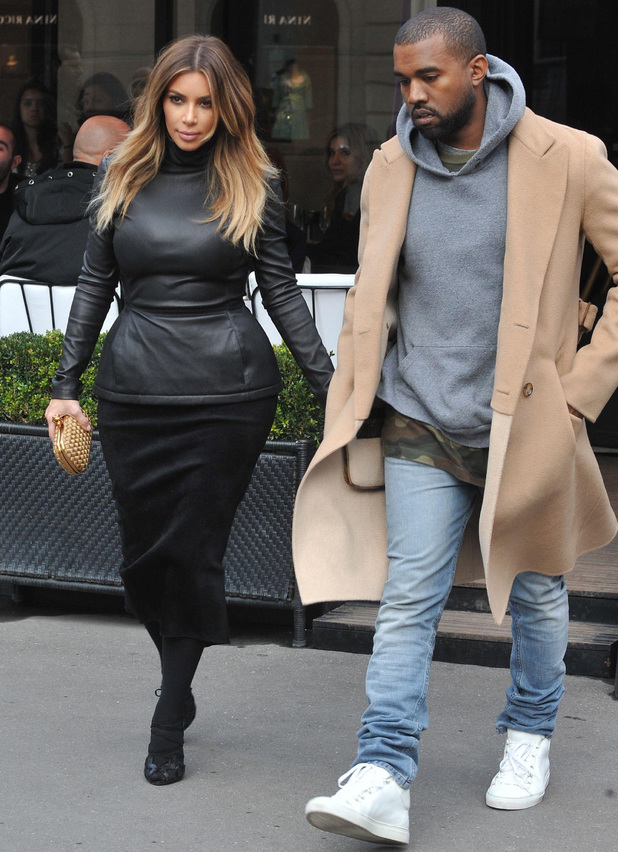 Kim Kardashian and Kanye West out and about in Paris, France - 19 Jan 2014