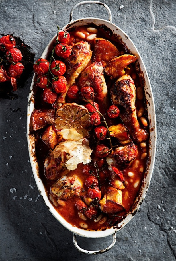 Spicy chicken and butternut squash bake