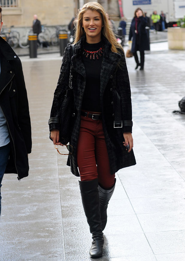 Amy Willerton arriving at the BBC Radio 1 studios, 23 January 2014