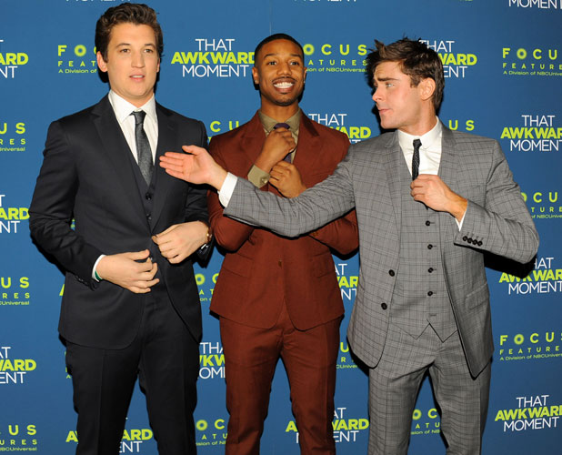 Miles Teller, Michael B. Jordan, Zac Efron, That Awkward Moment' film premiere, New York, America - 22 Jan 2014