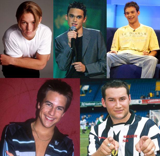 The Big Reunion's new boyband 5th Story as they were: Gareth Gates, Kenzie, Kavana, Adam Rickitt and Dane Bowers. Various.
