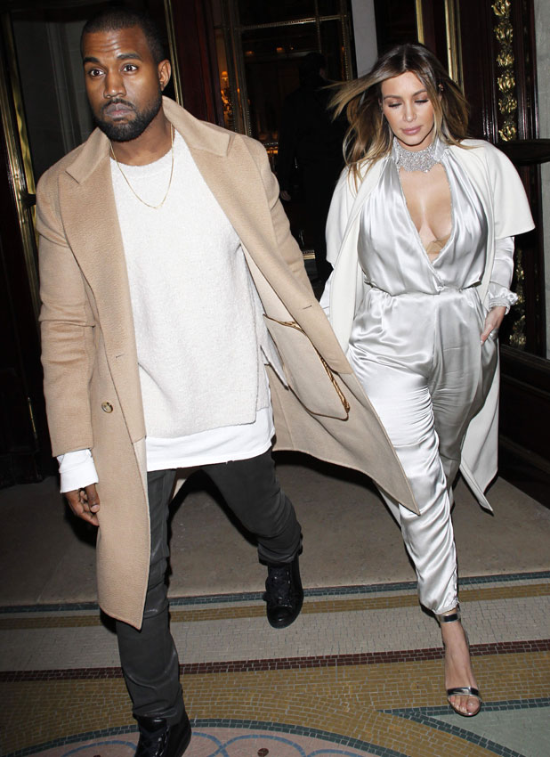 Kim Kardashian and Kanye West out and about, Paris, France - 21 Jan 2014
