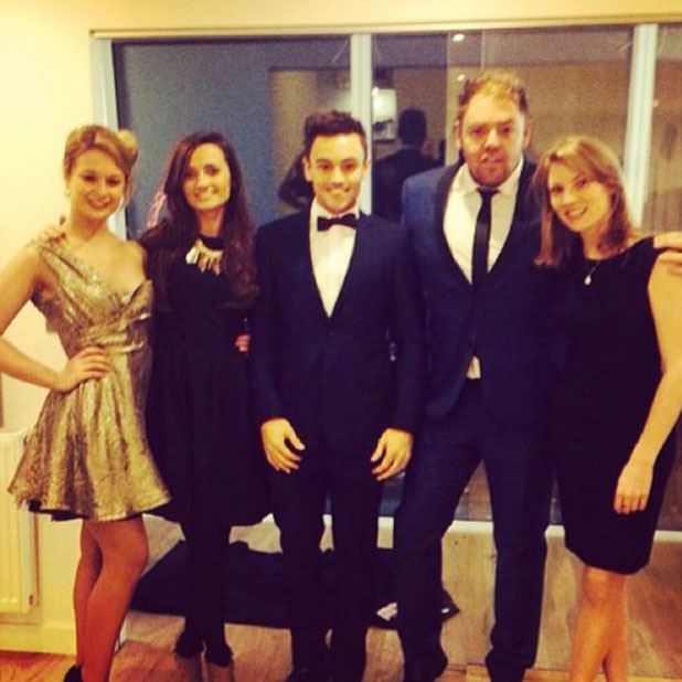 Tom Daley and his 'Team Daley' ahead of the National Television Awards, 22 January 2014