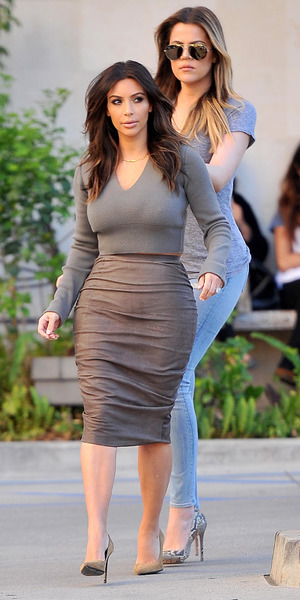 Kim Kardashian and her sisters Khloe and Kylie visit a spa in Sherman Oaks, 1 February 2014
