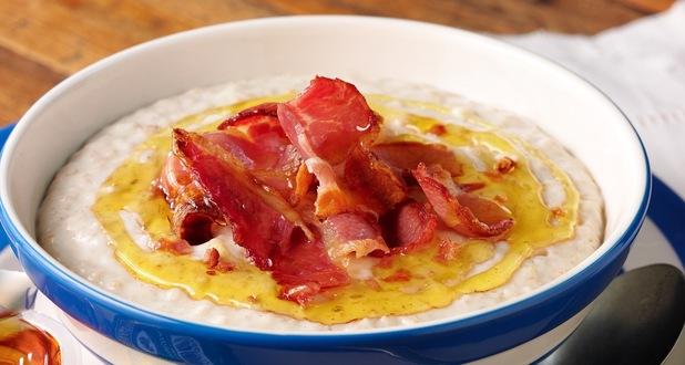 Porridge with bacon