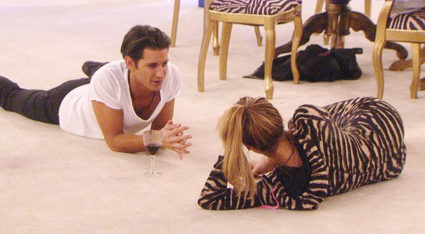 Celebrity Big Brother -Sam Faiers and Ollie Locke talk in the living room. (28 January).