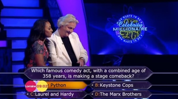 Alexandra Burke and David Emanuel on Who Wants To Be A Millionaire? (28 January 2014). Clip aired on ITV's Lorraine.