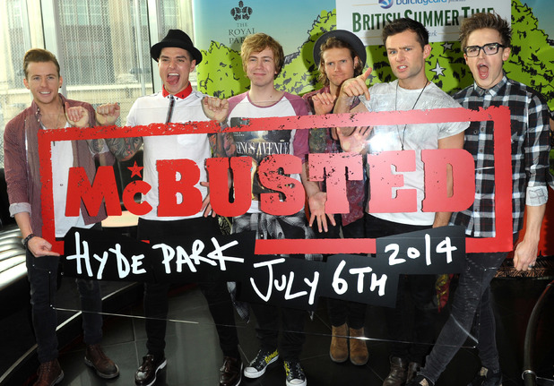 Danny Jones, Matt Willis, Tom Fletcher, Dougie Poynter, James Bourne, Harry Judd - McBusted (McFly and Busted) attend a photocall and press conference to announce that they will headline at the British Summertime event to be held at Hyde Park in London on Sunday 6th July 2014.