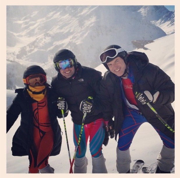 Joe McElderry enjoys a skiing session with Sinitta - 29 January 2014