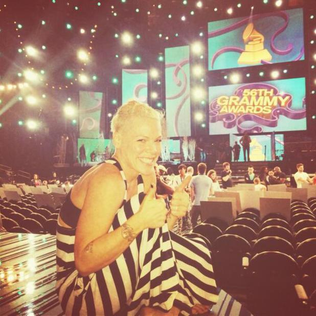 Pink rehearsing for 56th Grammy awards, 26th January 2014