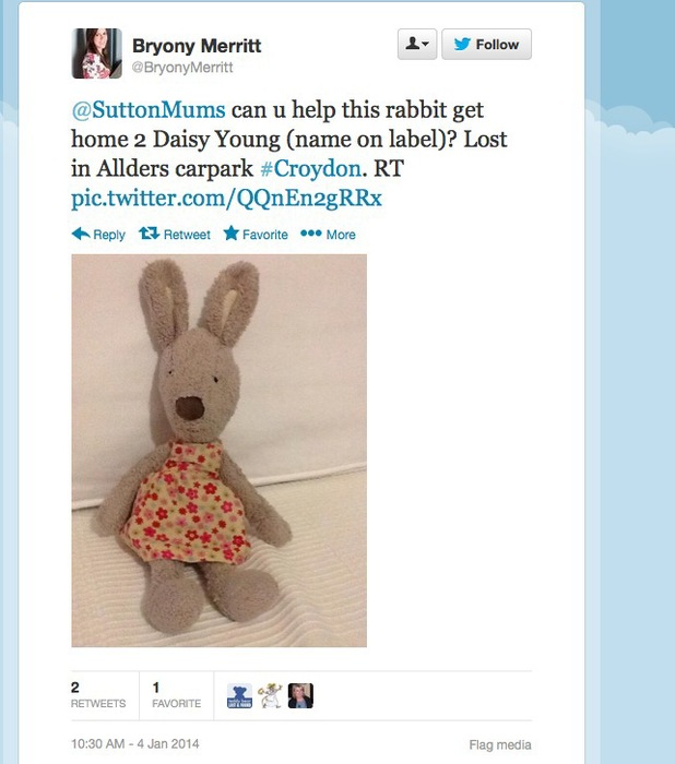 Daisy Young, toddler reunited with favourite toy thanks to Twitter
