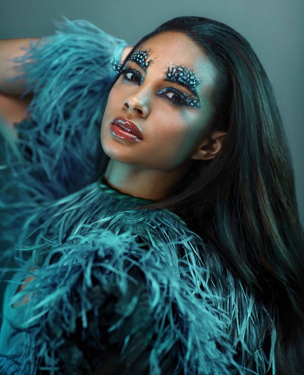 Alesha Dixon models Teal: Colour of the Year as part of a Dulux photo shoot.