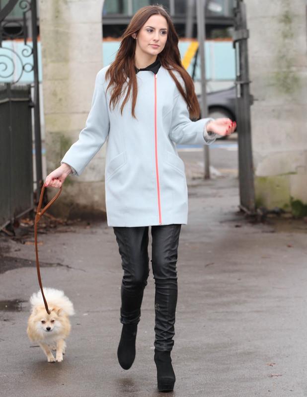 Lucy Watson walks a dog in Battersea - 30 January 2014
