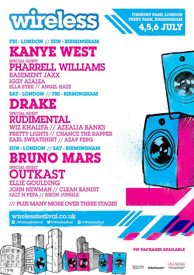 Wireless Festival line-up announced. Poster. (28 January 2014).