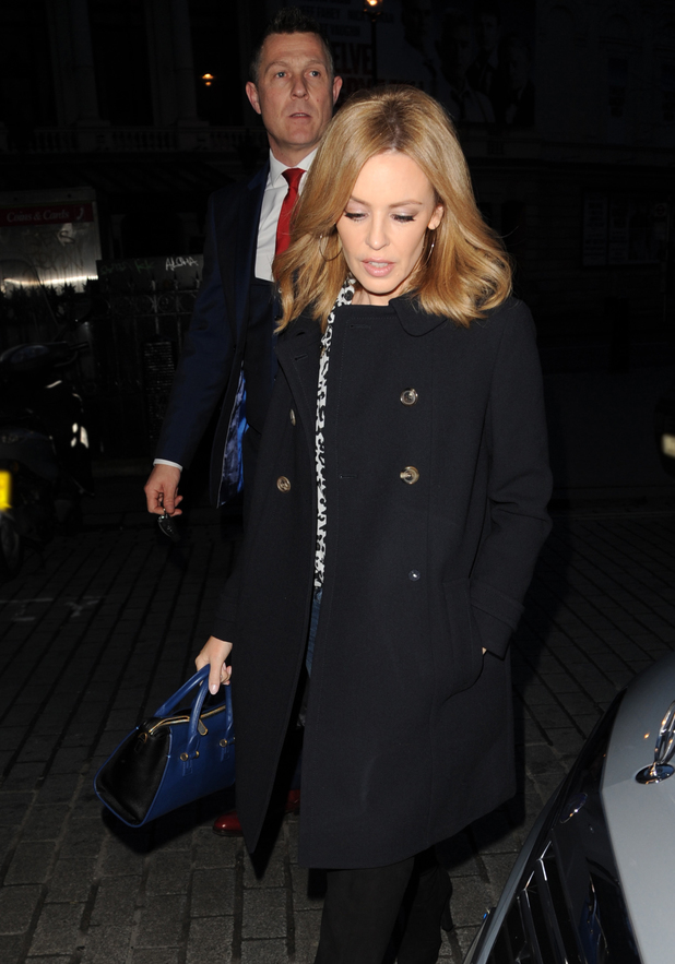Kylie Minogue arrives at Capital Radio and is greeted by fans 01/28/2014 - London, United Kingdom