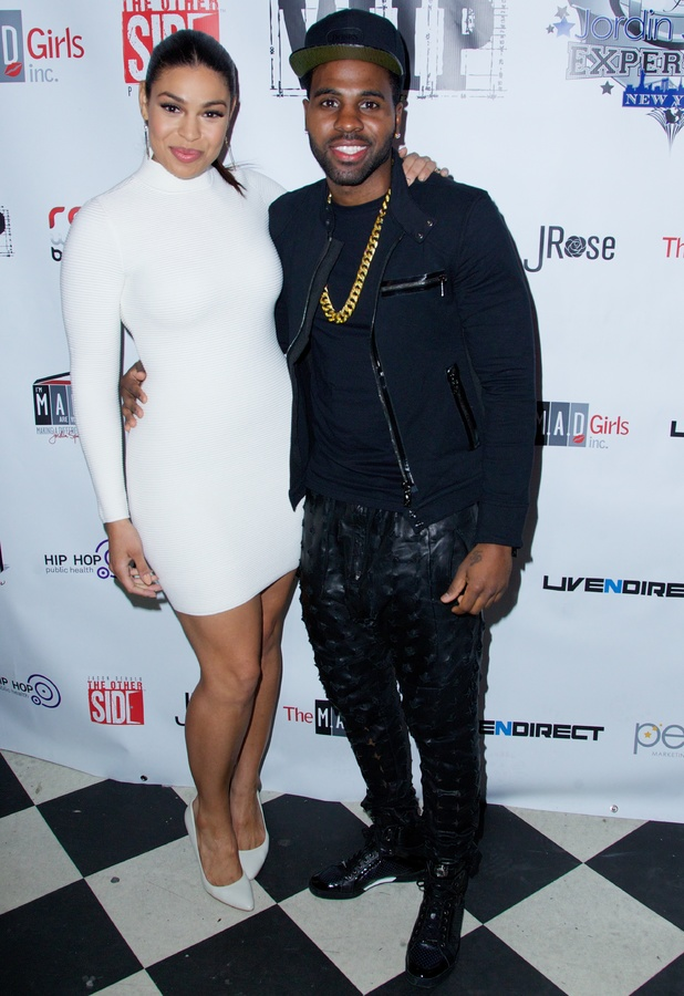 Jordin Sparks and Jason Derulo at the New York Red, White and Black Superbowl party in America, 29 January 2014