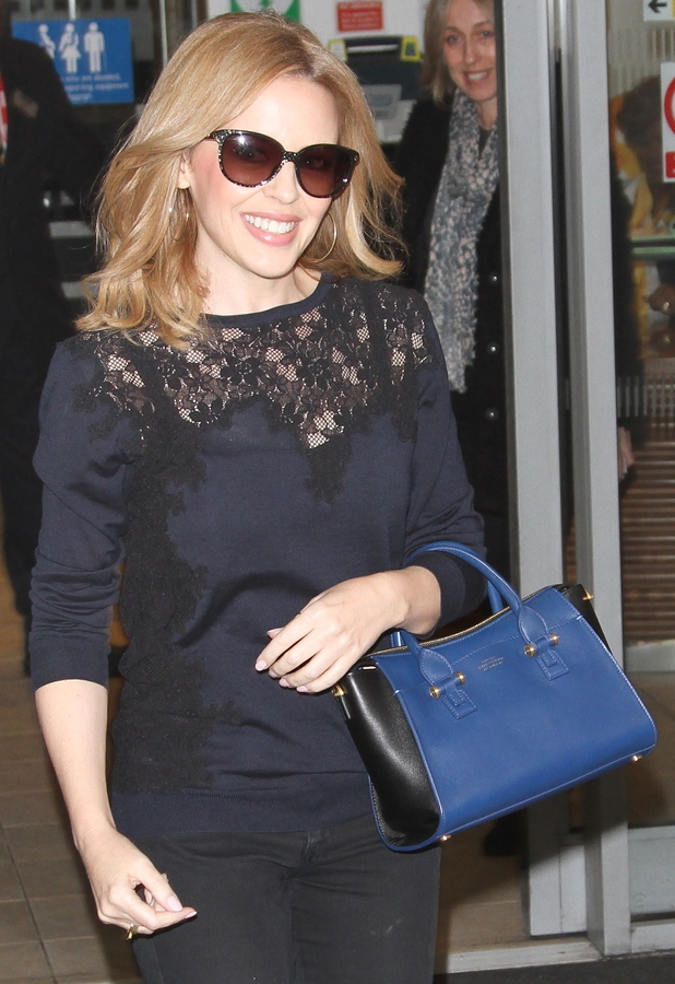 Kylie Minogue stops by the BBC Radio 2 studios in London, Britain - 27 January 2014