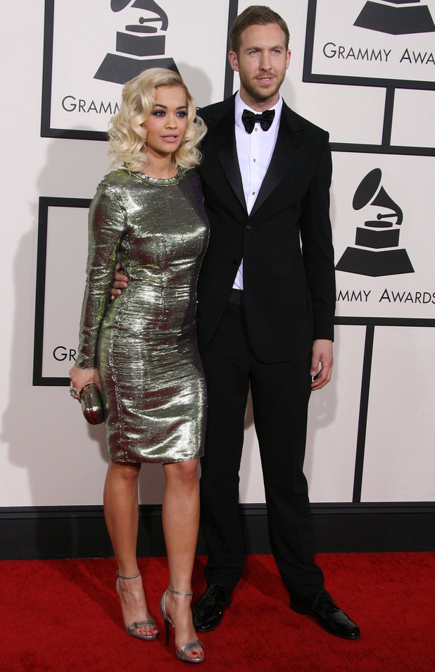 Rita Ora and Calvin Harris at the 56th Annual Grammy Awards in Los Angeles, America - 26 January 2014