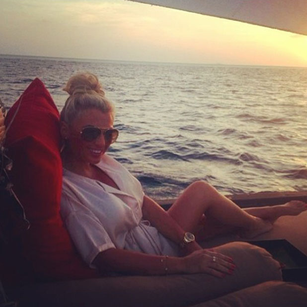 Billie Faiers and boyfriend Greg on holiday in the Maldives, 30 January 2014