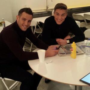 TOWIE's Elliott Wright and Lewis Bloor ahead of their photo shoot. (7 February).