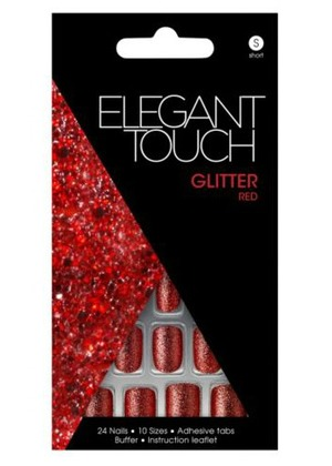 Elegant Touch Glitter Red Nails