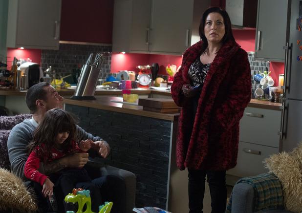 Matt Willis in EastEnders as Luke Riley speaking to Kat Slater - Jessie Wallace. (4 February).