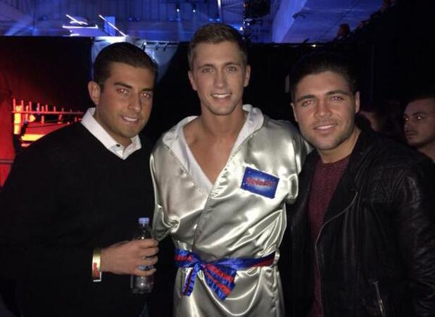 TOWIE's Dan Osbourne gets support from his co-stars James Argent and Tom Pearce during the semi-finals of Splash! 8 February 2014