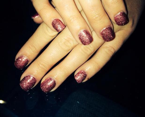 Lauren Goodger shows off her new acrylic red glitter nails, 3 February 2014