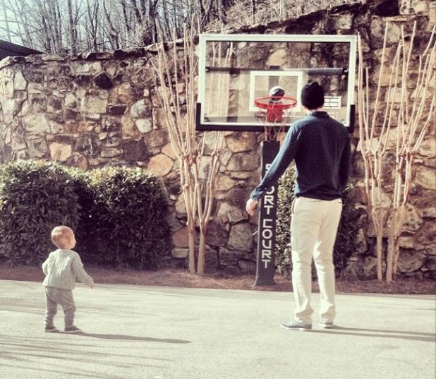 Jay Cutler and son Camden jack playing basketball - 2.2.2014