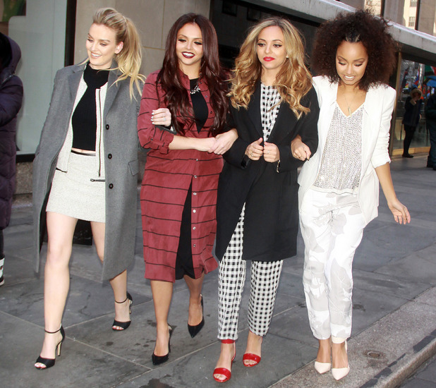 Little Mix's Perrie Edwards, Jesy Nelson, Jade Thirlwall and Leigh-Anne Pinnock arrive at Good Morning America TV studios in New York, America - 04 February 2014