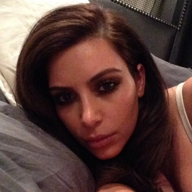 Kim Kardashian shows off new brunette hair in Instagram picture - 3 February 2014