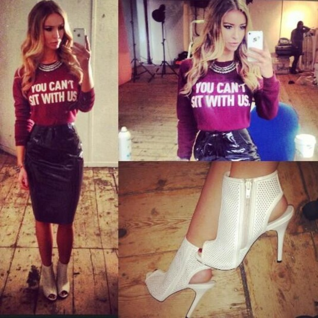Lauren Pope takes a Twitter picture during a photoshoot in Manchester - 3 February 2014
