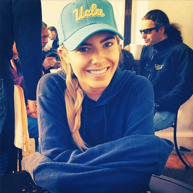 Mollie King poses in a UCLA baseball cap while in Los Angeles, America - 4 February 2014