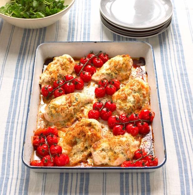 Chicken with  pesto taleggio tomatoes mary berry
