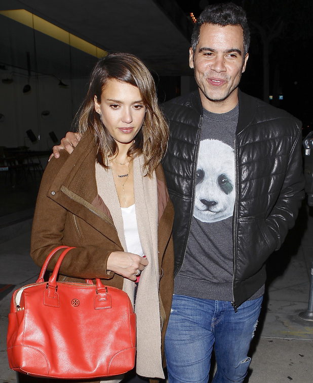 Jessica Alba and Cash Warren leaving Craig's restaurant in Hollywood, Los Angeles, America - 03 Feb 2014