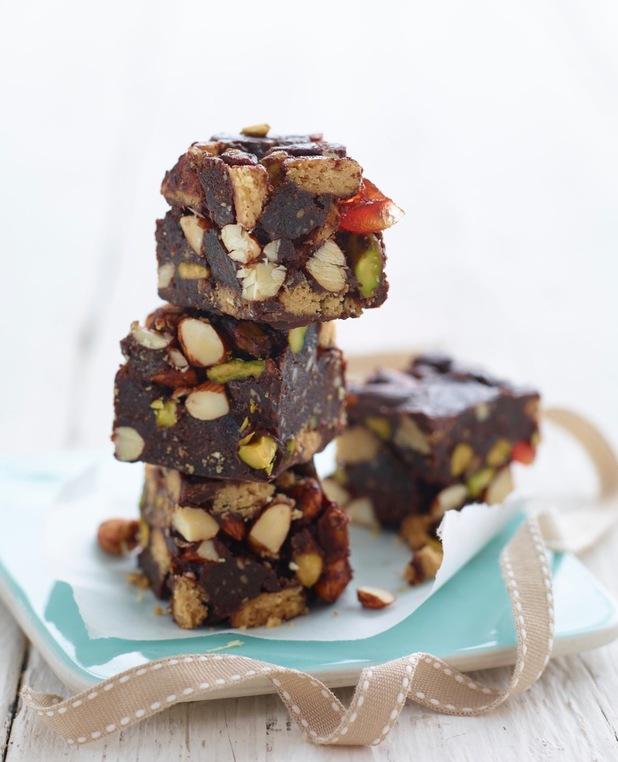 Chocolate, nut and cherry cake