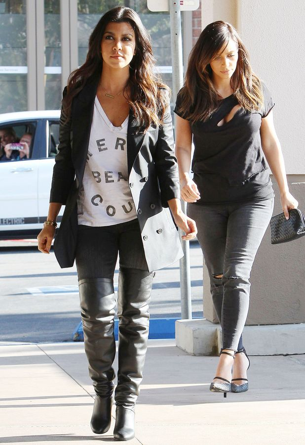 Kim and Khloe Kardashian film scenes for 'Keeping Up With The Kardashians' in Los Angeles, America - 07 Feb 2014