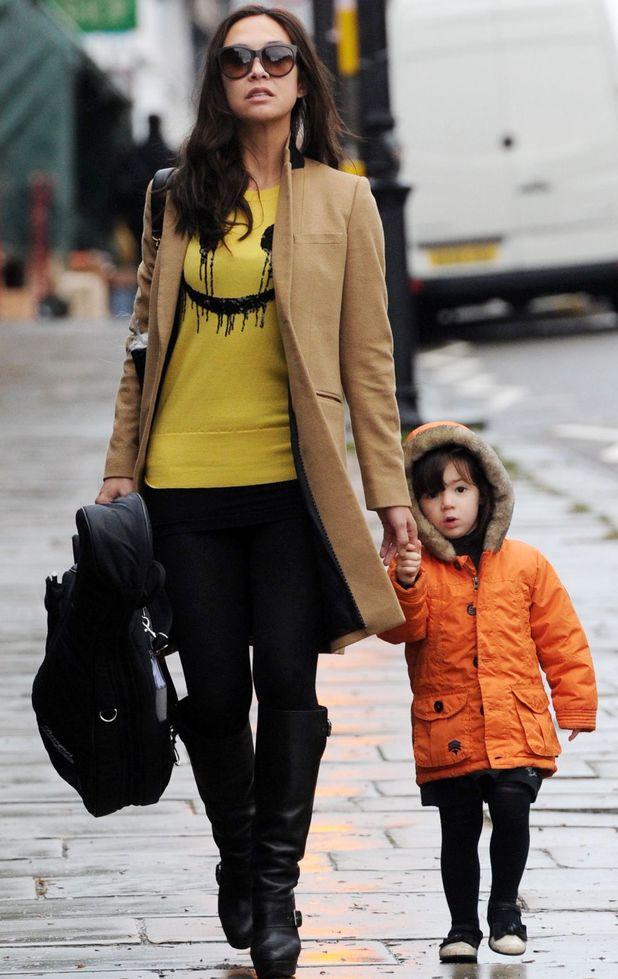Myleene Klass in London with daughter Hero