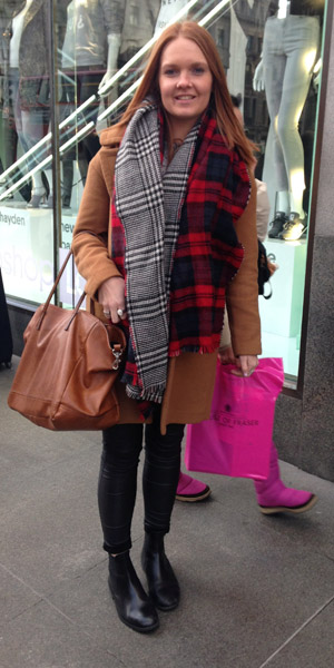Street style: Reveal reader Courtney, 22, wears a tartan scarf on 6 February 2014